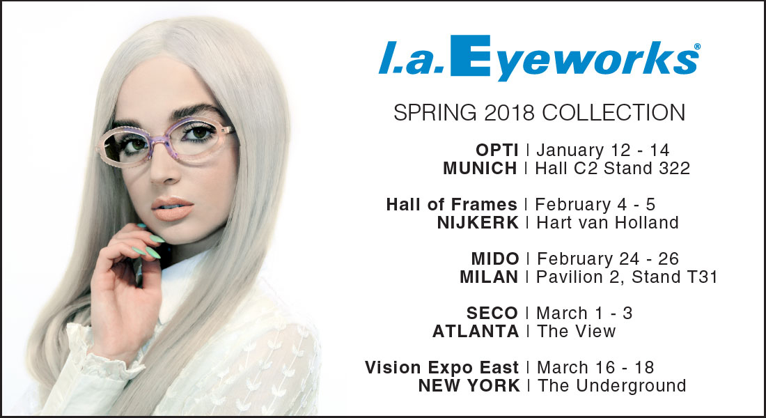 bba3984f812 Join us at these destinations as we travel the Wide World to unveil the  optical treasures of the Spring 2018 l.a.Eyeworks collection.